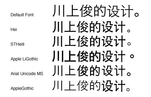 试了系统中默认的一些主要字体(包括华文黑体 stheiti,hei,苹果丽黑