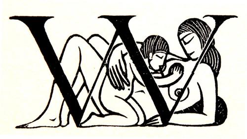 Gill 1916年手绘作品:字母 W 与母子