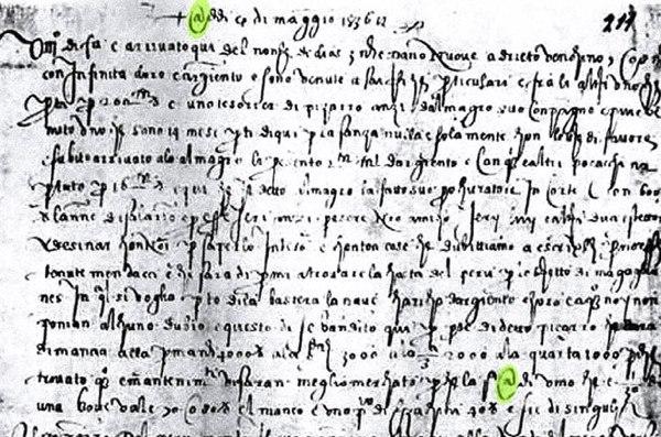 6. francesco lapi letter 1536 at sign