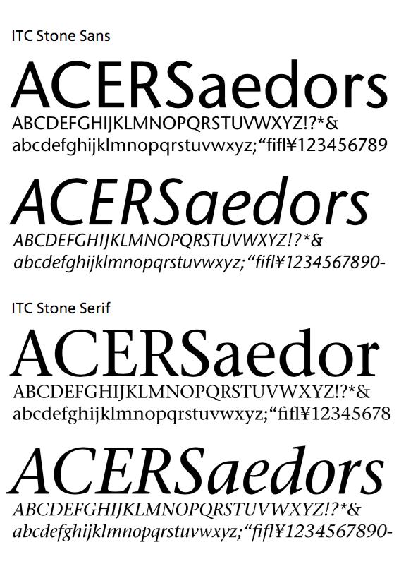 ITC Stone Sans 和 ITC Stone Serif 样张(此图摘自小林章著、Eric Liu 译的《西文字体》)
